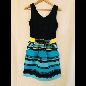 BCX Dress black and turquoise strips